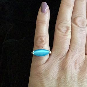 SKY BLUE CATS EYE STAMPED 925 SILVER RING